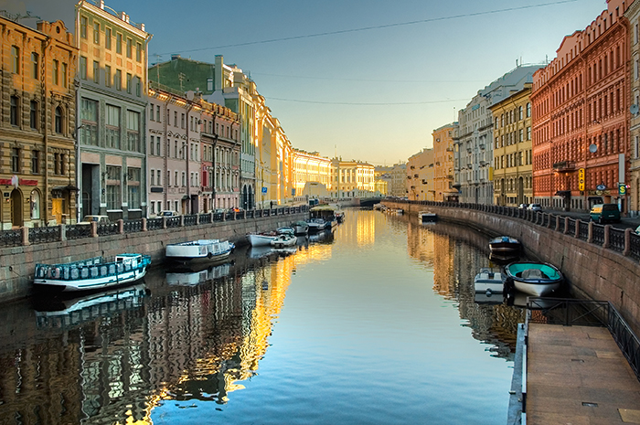 Moyka river in St.Petersburg Russia