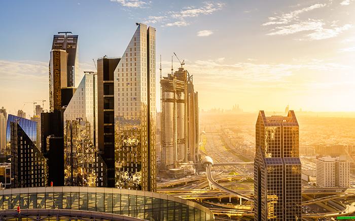 Bird's eye view of Dubai skyline