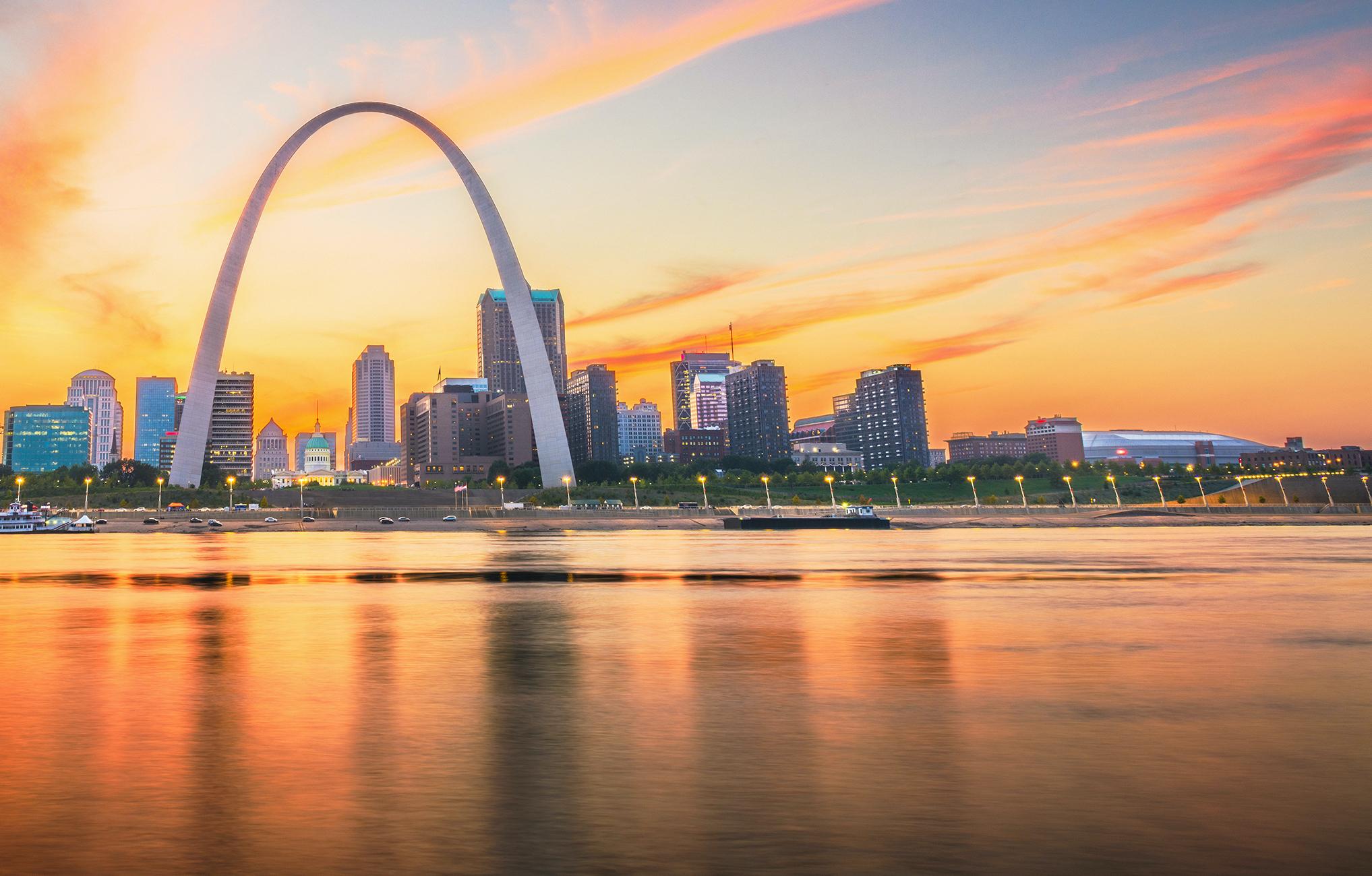 St. Louis, Missouri, USA skyline at sunset, taken from the water.