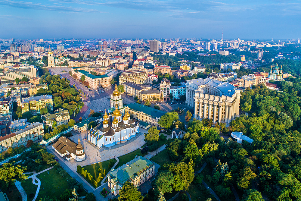 Aerial view of St. Michaels Golden-Domed Monastery, Ministry of Foreign Affairs and Saint Sophias Cathedral in Kiev, Ukraine